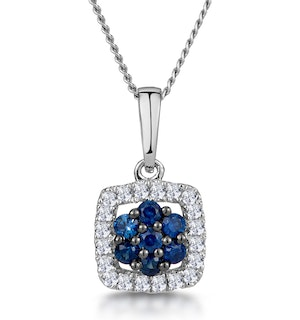 0.16ct Sapphire and Diamond Stellato Necklace in 9K White Gold