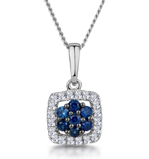 0.16ct Sapphire and Diamond Stellato Necklace in 9K White Gold