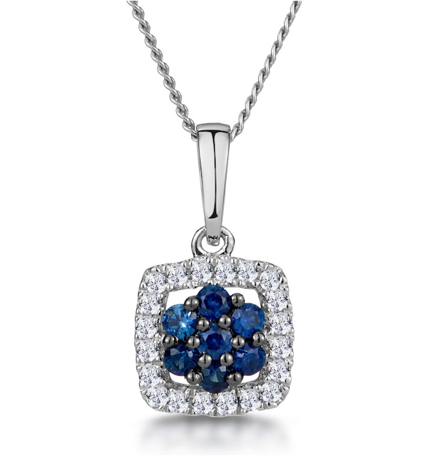 0.16ct Sapphire and Diamond Stellato Necklace in 9K White Gold - image 1