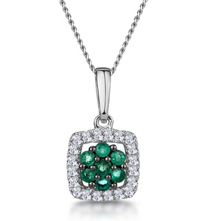 0.14ct Emerald and Diamond Stellato Necklace in 9K White Gold