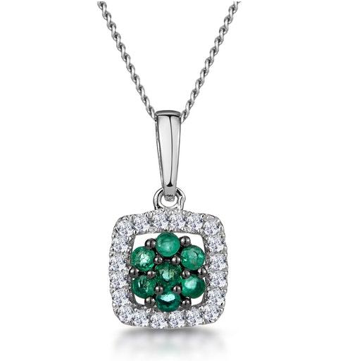0.14ct Emerald and Diamond Stellato Necklace in 9K White Gold - image 1