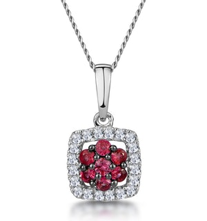 0.15ct Ruby and Diamond Stellato Necklace in 9K White Gold