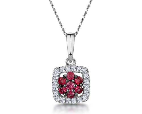 Ruby Halo Pendants And Necklaces