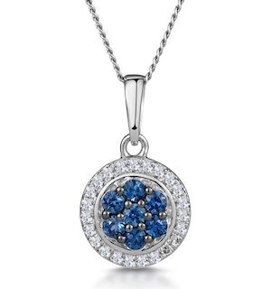 0.21ct Sapphire and Diamond Stellato Necklace in 9K White Gold