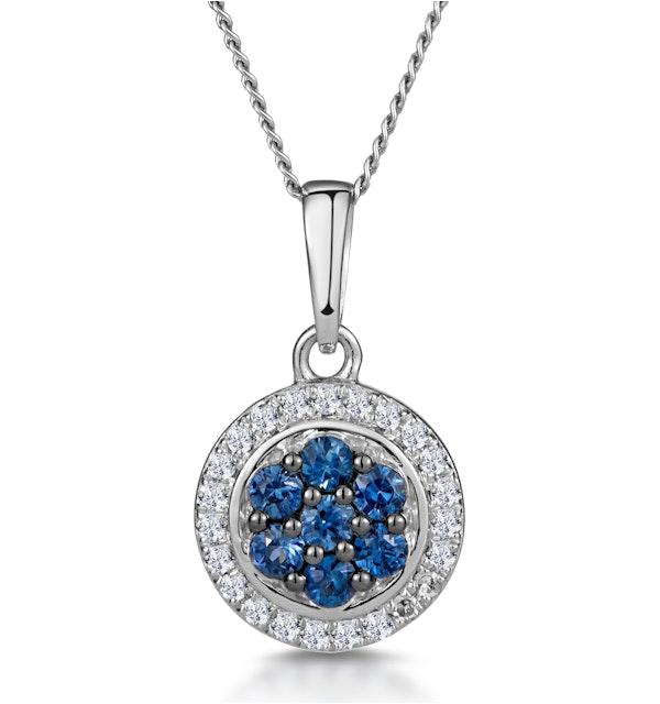 0.21ct Sapphire and Diamond Stellato Necklace in 9K White Gold - image 1