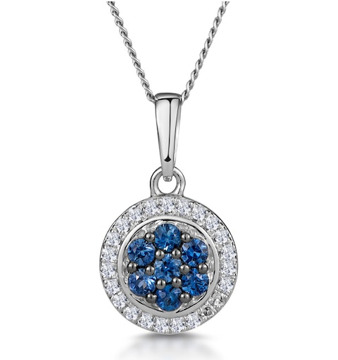 0.21ct Sapphire and Diamond Stellato Necklace in 9K White Gold - image 1