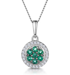 0.16ct Emerald and Diamond Stellato Necklace in 9K White Gold