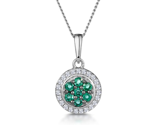 Emerald Halo Pendants And Necklaces