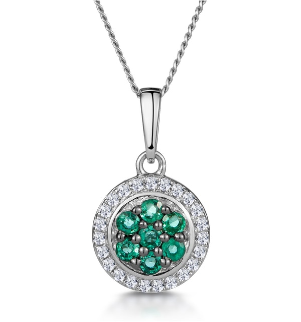 0.16ct Emerald and Diamond Stellato Necklace in 9K White Gold - image 1