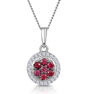 0.22ct Ruby and Diamond Stellato Necklace in 9K White Gold