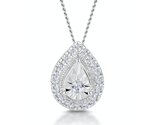 White Gold Diamond Halo Necklaces and Pendants