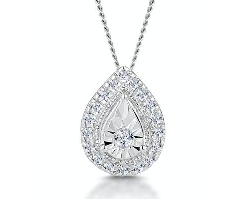 White Gold Diamond Halo Necklaces and Pendants
