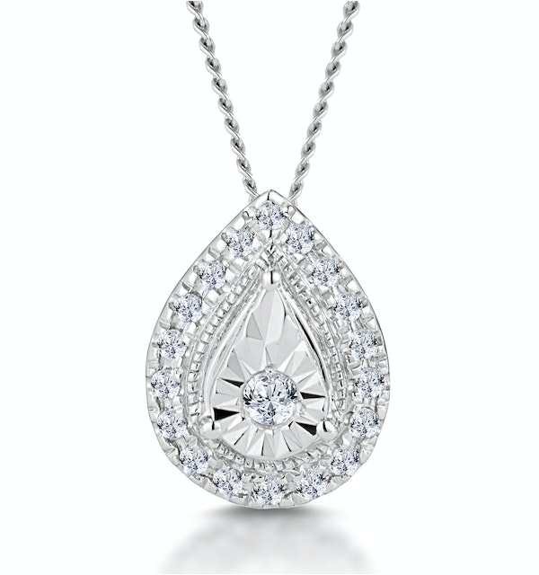 Masami Diamond Pear Halo Necklace 0.10ct Pave Set in 9K White Gold - image 1