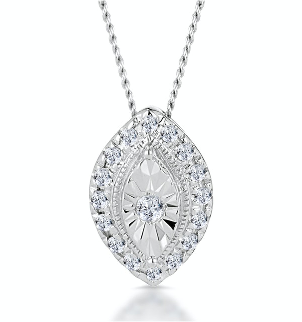 Masami Diamond Marquise Halo Necklace 0.10ct Pave Set in 9K White Gold - image 1