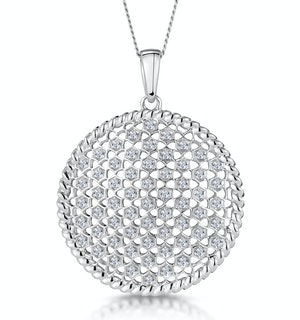 Masami Diamond Circle Lattice Necklace 0.25ct Pave Set 9K White Gold
