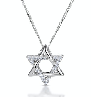 Star of David Diamond Necklace 0.09ct in 9K White Gold