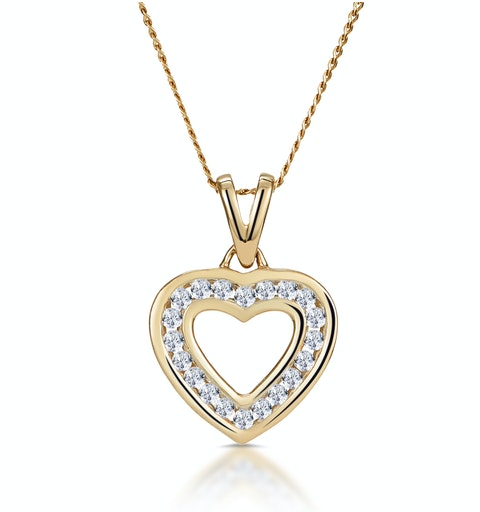 Diamond Heart Necklace 0.20ct Channel Set in 9K Gold - image 1