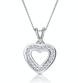 Diamond Heart Necklace 0.20ct Channel Set in 9K White Gold