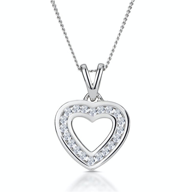Diamond Heart Necklace 0.20ct Channel Set in 9K White Gold - image 1