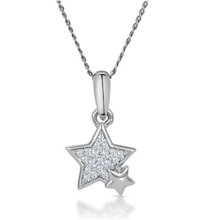 Diamond Duo Stars Stellato Necklace in 9K White Gold