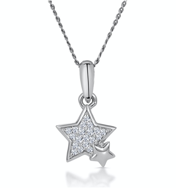 Diamond Duo Stars Stellato Necklace in 9K White Gold - image 1