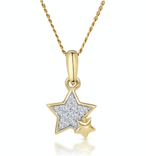 Diamond Duo Stars Stellato Necklace in 9K Gold