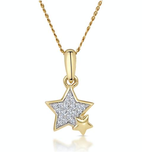 Diamond Duo Stars Stellato Necklace in 9K Gold - image 1