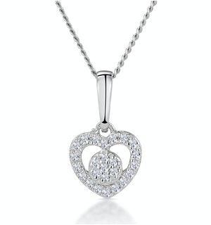 Diamond Heart and Circle Stellato Necklace in 9K White Gold