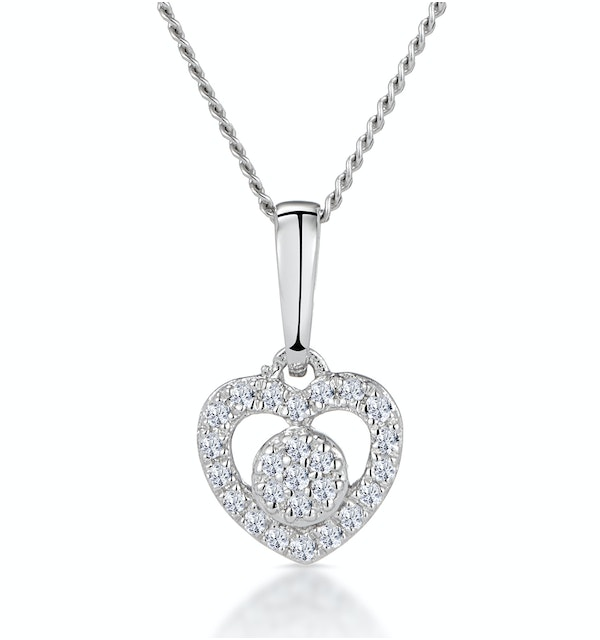 Diamond Heart and Circle Stellato Necklace in 9K White Gold - image 1