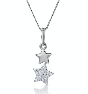 Diamond Dangling Stars Stellato Necklace in 9K White Gold