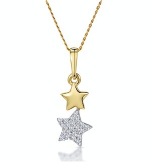 Diamond Dangling Stars Stellato Necklace in 9K Gold