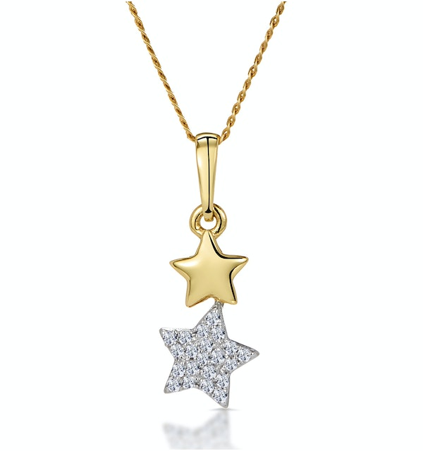 Diamond Dangling Stars Stellato Necklace in 9K Gold - image 1