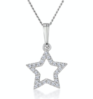 Stellato Diamond Star Necklace in 9K White Gold
