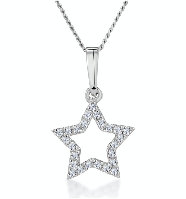Stellato Diamond Star Necklace in 9K White Gold - image 1