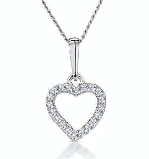 Stellato Diamond Heart Necklace in 9K White Gold