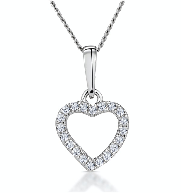 Stellato Diamond Heart Necklace in 9K White Gold - image 1