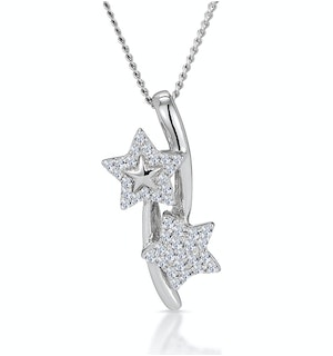 Diamond Entwined Stars Stellato Necklace in 9K White Gold