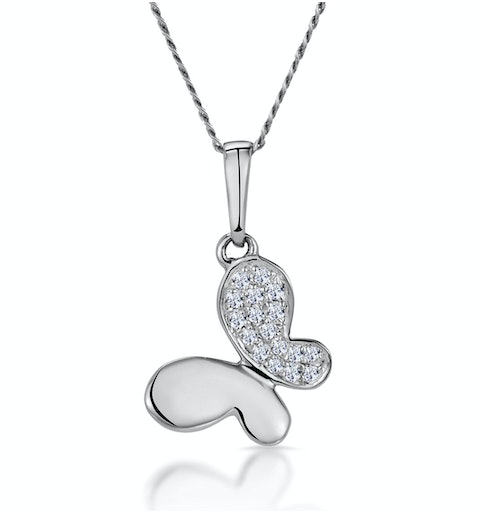 Stellato Diamond Butterfly Necklace in 9K White Gold - image 1