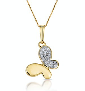 Stellato Diamond Butterfly Necklace in 9K Gold