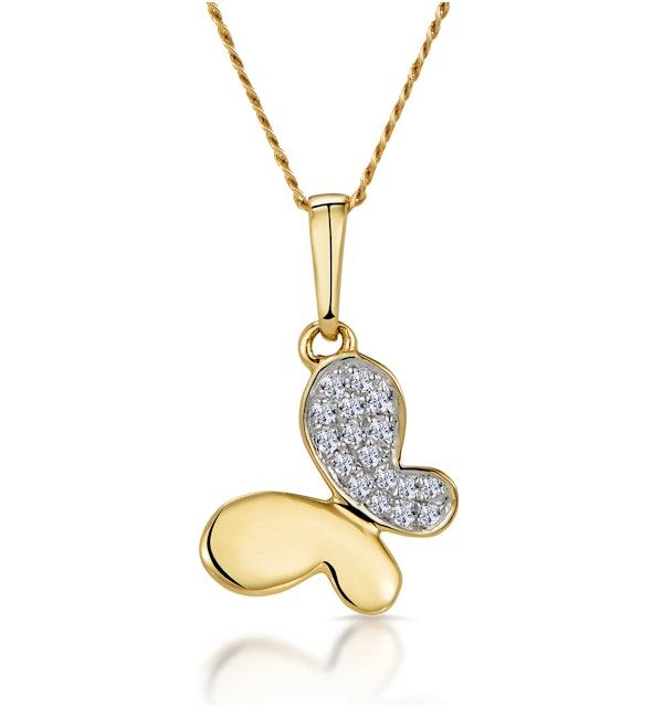 Stellato Diamond Butterfly Necklace in 9K Gold - image 1