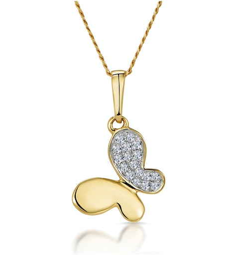 Stellato Diamond Butterfly Necklace in 9K Gold - image 1