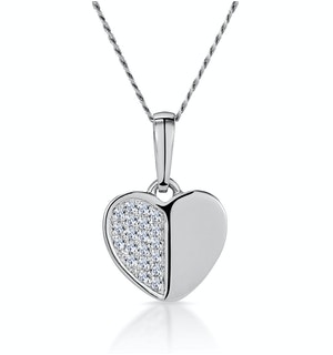 Stellato Heart Diamond Necklace in 9K White Gold
