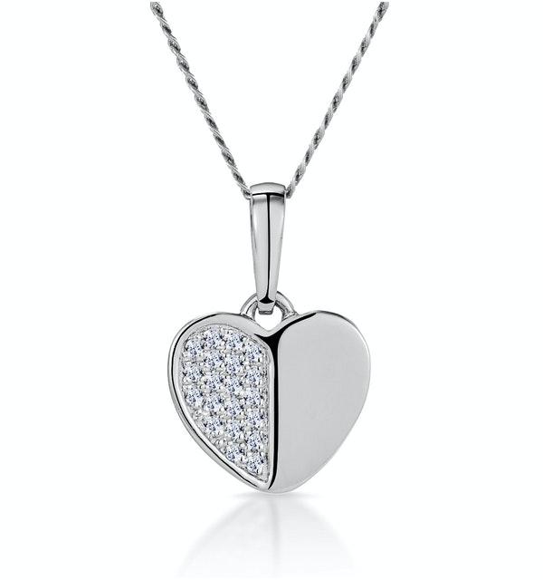 Stellato Heart Diamond Necklace in 9K White Gold - image 1