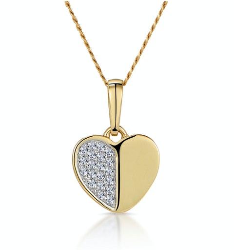Stellato Heart Diamond Necklace in 9K Gold - image 1