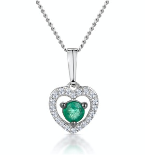 Stellato Emerald and Diamond Heart Necklace in 9K White Gold