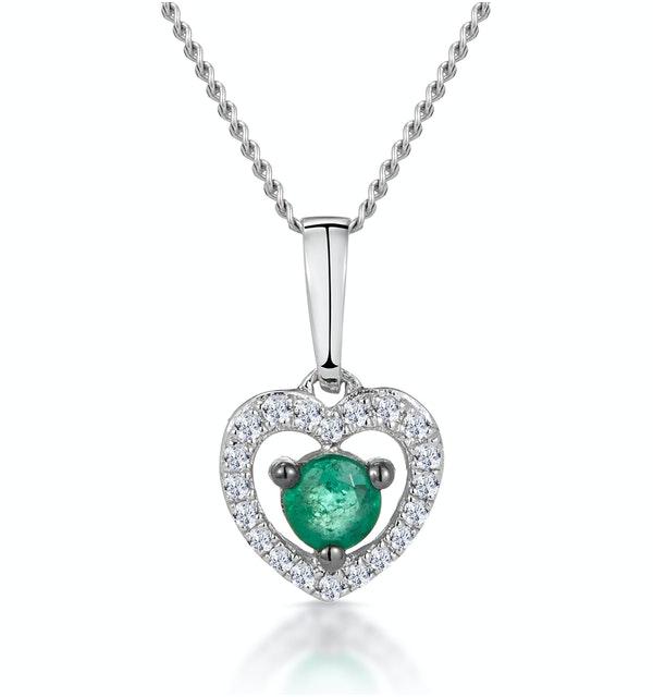 Stellato Emerald and Diamond Heart Necklace in 9K White Gold - image 1
