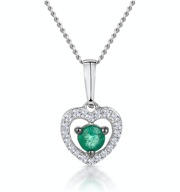 Stellato Emerald and Diamond Heart Necklace in 9K White Gold - image 1