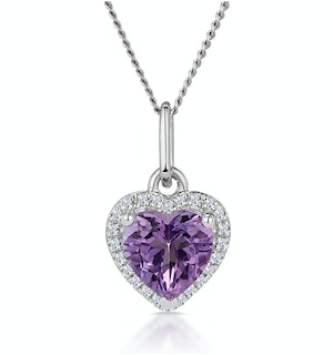 Stellato Amethyst and Diamond Heart Necklace in 9K White Gold