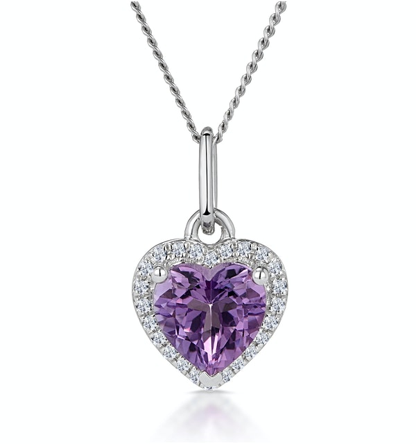 Stellato Amethyst and Diamond Heart Necklace in 9K White Gold - image 1