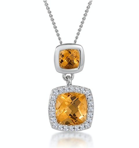 1.12ct Citrine and Diamond Halo Stellato Necklace in 9K White Gold - image 1